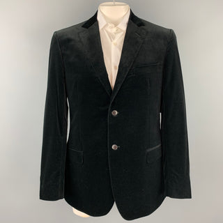 Z ZEGNA Size 44 Black Cotton Velvet Notch Lapel Sport Coat