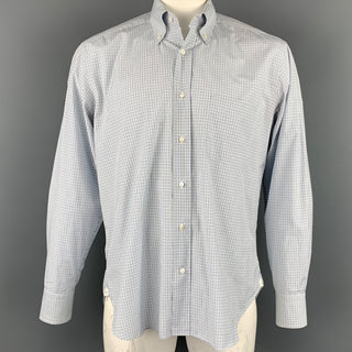 LORO PIANA Size L White & Blue Window Pane Cotton Button Down Long Sleeve Shirt
