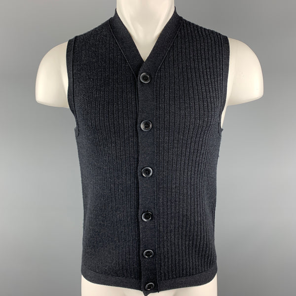 EMPORIO ARMANI Size S Charcoal Knitted Wool Buttoned Sweater Vest