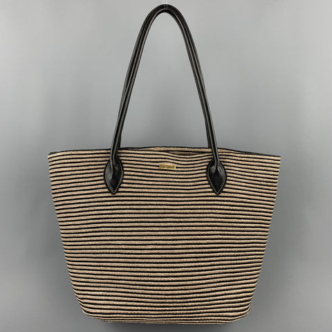 ERIC JAVITS Stripe Black & Beige Straw Leather Tote Handbag