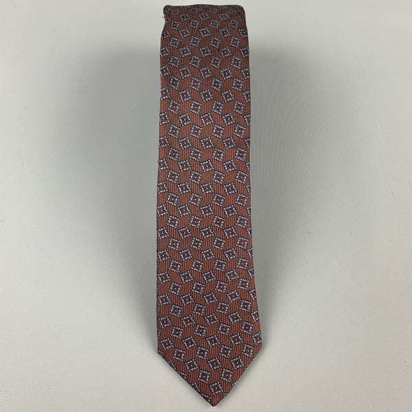 BURBERRY PRORSUM Brown Silk Print Skinny Tie