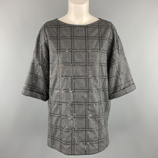 BRUNELLO CUCINELLI Size S Grey Sequin Monili Plaid Short Sleeve Top