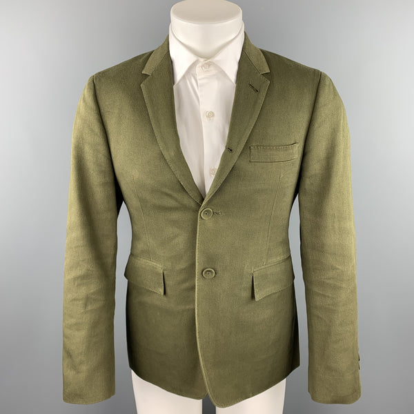 THOM BROWNE Size 38 Short Olive Cotton Notch Lapel Sport Coat