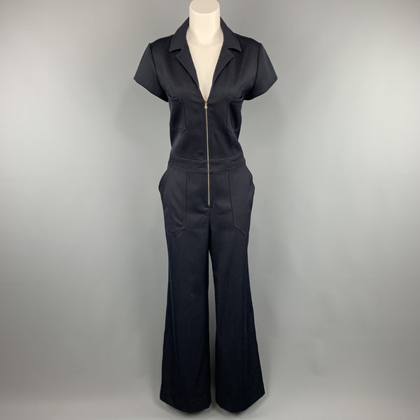 L'AGENCE Size 8 Navy Collared Cap Sleeve Wide Leg Jumpsuit