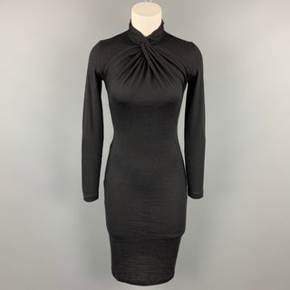RALPH LAUREN Size S Black Knitted Cashmere High Collar Dress