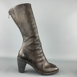 GUIDI Size 7 Brown Leather Horsehide Heeled Peep Toe Boots