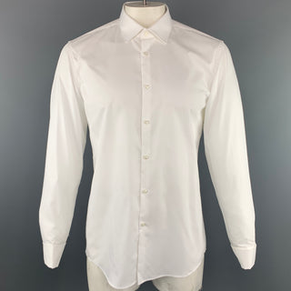 HUGO BOSS Size L White Solid Cotton French Cuff Long Sleeve Shirt