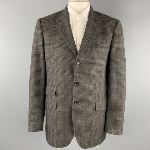 ETRO Size 42 Long Taupe Plaid Wool / Cashmere Tab Collar Sport Coat