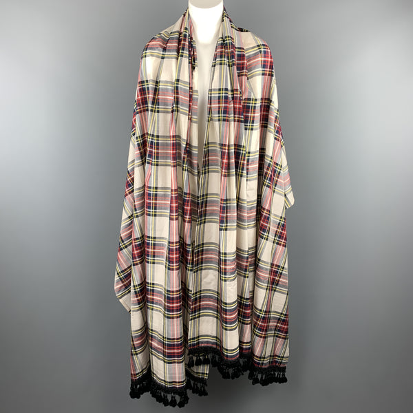 YVES SAINT LAURENT Cream Multi Color Plaid Taffeta Fringe Shawl