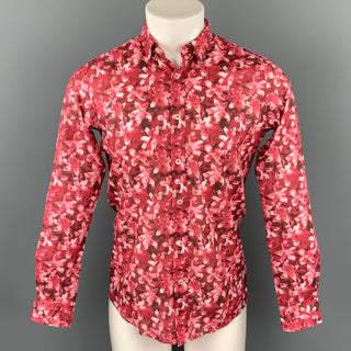 TWEEN Smart Chic Size XS Red & White Floral Cotton Slim Fit Long Sleeve Shirt