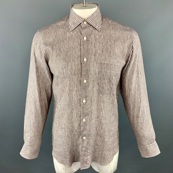 CANALI Size M Brown Stripe Linen Spread Collar Pocket Long Sleeve Shirt