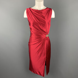 REEM ACRA Size 2 Raspberry Red Draped Silk Sleeveless Cocktail Dress