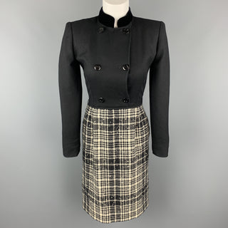 VALENTINO Size 4 Black Velvet Collar Plaid Skirt Vintage Dress