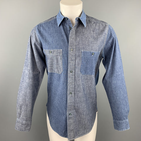 NIGEL CABOURN Size S Blue Mixed Fabrics Cotton Long Sleeve Shirt