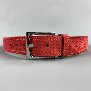 DONALD J PLINER Franco Perforated Size 30 Red Suede Belt
