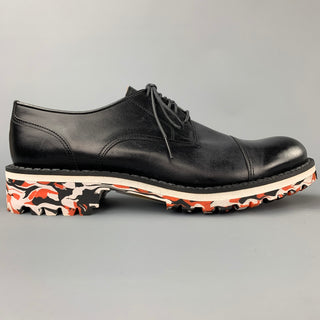 MIHARAYASUHIRO Size 7 Black Leather Cap Toe Lace Up Shoes