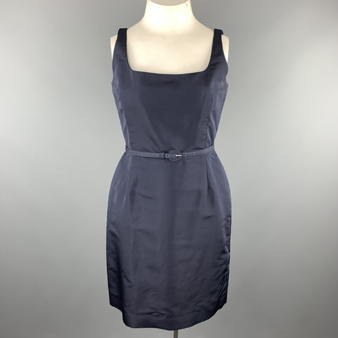 OSCAR DE LA RENTA Size 12 Navy Silk Sleeveless Sheath Cocktail Dress