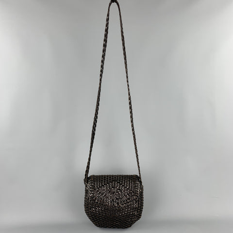 DE VECCHI by HAMILTON TON HODGE Brown Woven Leather Shoulder Handbag