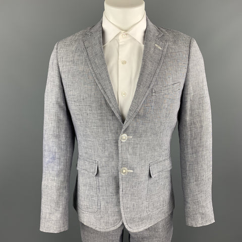 BAND OF OUTSIDERS Size 40 Navy & White Houndstooth Linen Notch Lapel Suit
