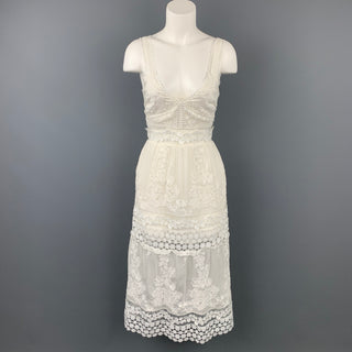 SELF-PORTRAIT Size 6 White Lace Cotton Blend Dress