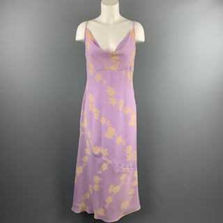 MIMMINA Size 8 Lilac Floral Acetate Blend Spaghetti Strap Dress