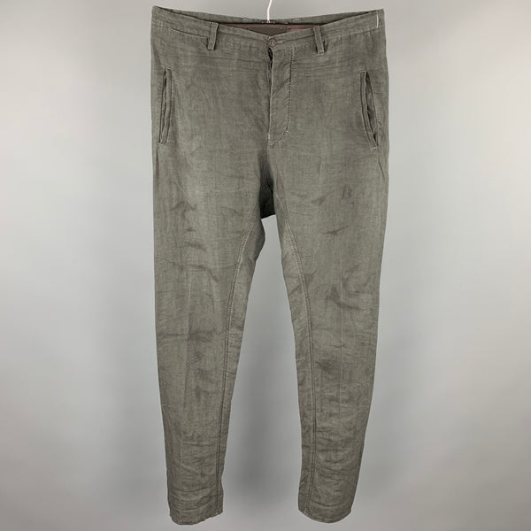 LAYER-O Size 34 Grey Wrinkled Linen Drop-Crotch Casual Pants