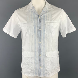 ELIE TAHARI Size M White & Blue Pinstripe Cotton Short Sleeve Shirt