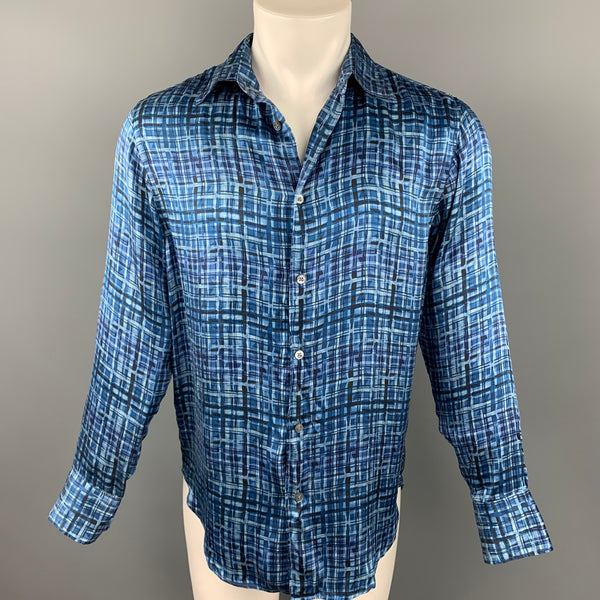 ARMANI COLLEZIONI Size M Blue & Navy Print Silk Button Up Long Sleeve Shirt