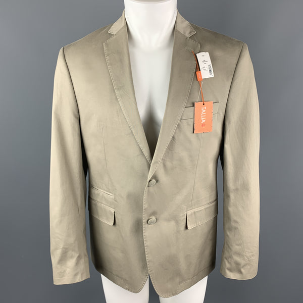 TALLIA Size 40 Khaki Short Cotton Notch Lapel Sport Coat