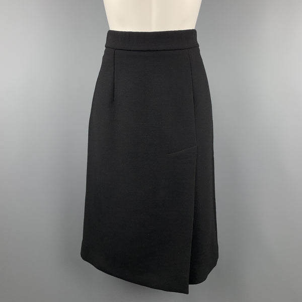 MARNI Size M Black Wool A Line Slit Skirt