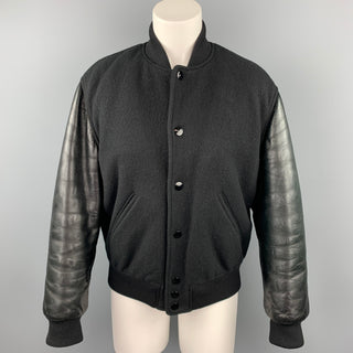 GIVENCHY Size 6 / FR 38  Black Wool Lamb Skin Bomber Jacket
