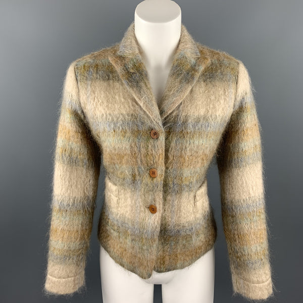 BARRY BRICKEN Size 8 Tan Plaid Mohair Blend Peak Lapel Jacket
