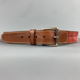 MARTIN DINGMAN Size 38 Brick Contrast Stitching Leather Belt