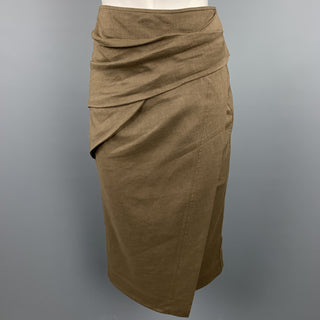 DONNA KARAN Size 4 Olive Twill Wool / Linen Draped Skirt
