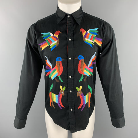 CUSTOM MADE Size S Black Embroidery Cotton Button Up Stripe Trim  Long Sleeve Shirt