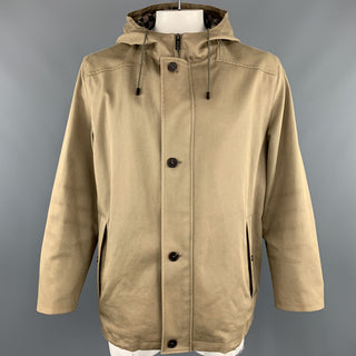LOUIS VUITTON  Size 46 Khaki Coated Cotton Hooded Damier Lined Parka Coat