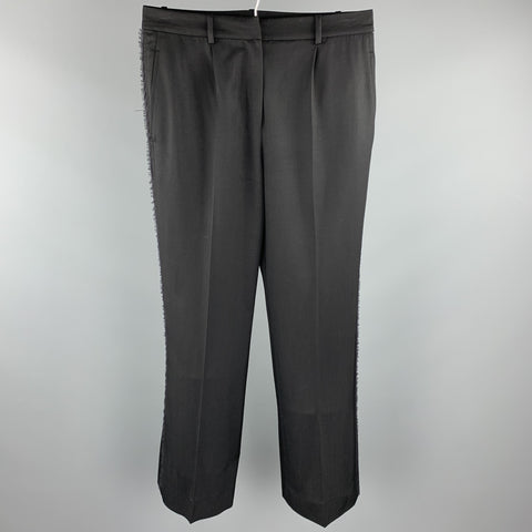 YVES SAINT LAURENT Rive Gauche Size 6 Black Wool Raw Edged Dress Pants
