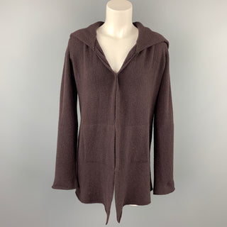 CASMARI Size S Brown Knitted Cashmere Hooded Open Front Cardigan