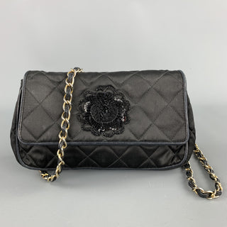 Vinatge CHANEL Black Quilted Nylon Leather Trim Cross Body Handbag