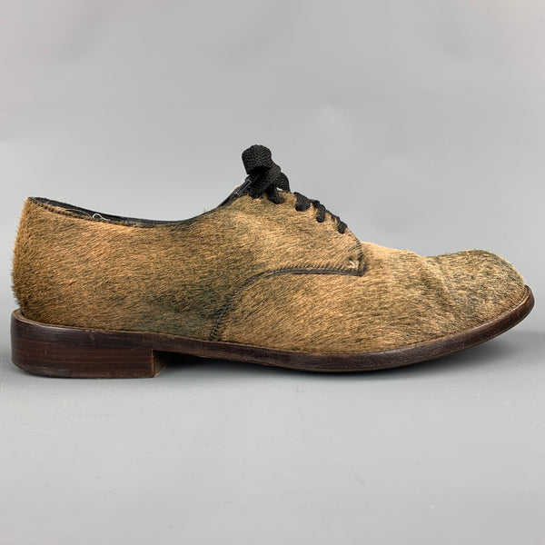 HENRY CUIR Size 8.5 Taupe Calf Hair Lace Up Brogues