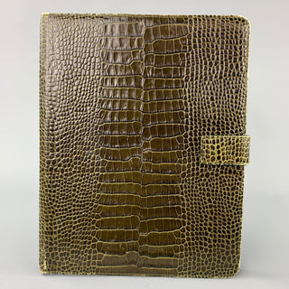 SMYTHSON OF BOND ST. Olive Embossed Leather iPad Case