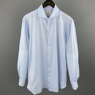 BORRELLI Size M Light Blue Cotton Button Up Long Sleeve Shirt