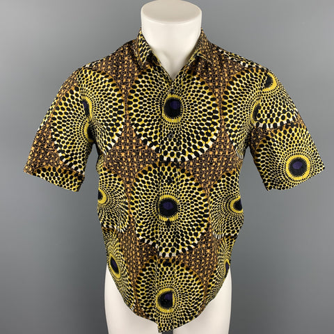 BURBERRY PRORSUM Size S Yellow & Black Print Cotton Button Up Short Sleeve Shirt