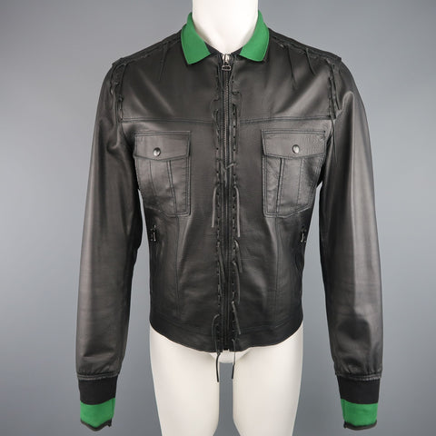 LANVIN US 42 / IT 52 Black Leather Fringe Trim Green Collar Bomber Jacket