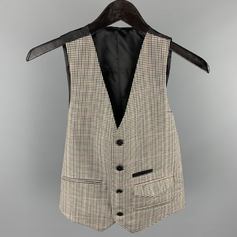 FIFTH AVENUE SHOE REPAIR Size S Grey Plaid Wool Buttoned Vest