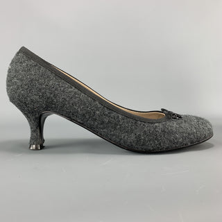 BETTINA Size 6 Charcoal Wool Bow Pumps
