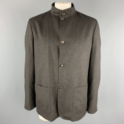 ERMENEGILDO ZEGNA Size XXL Charcoal Wool Nehru Collar Patch Pockets Jacket