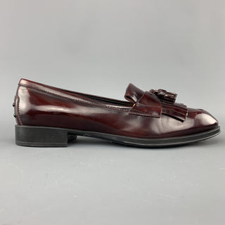 TOD'S Size 8.5 Burgundy Leather Tassels Loafers