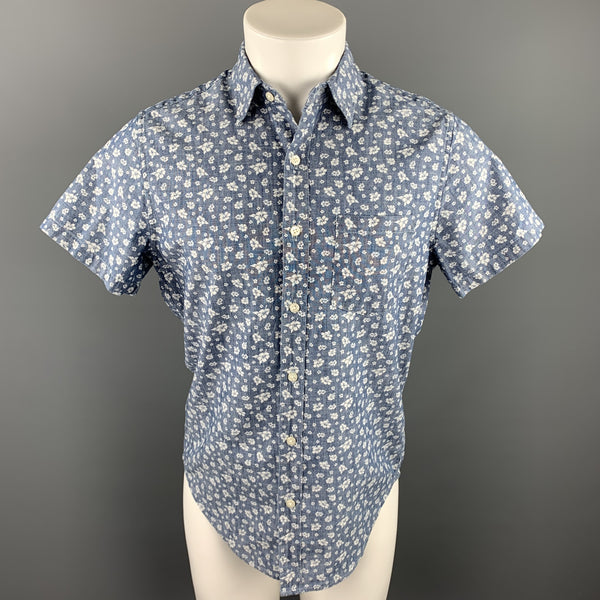 J CREW Size S Indigo Floral Cotton Button Up Short Sleeve Shirt