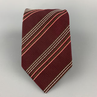 GIORGIO ARMANI Burgundy Striped Textured Silk Tie